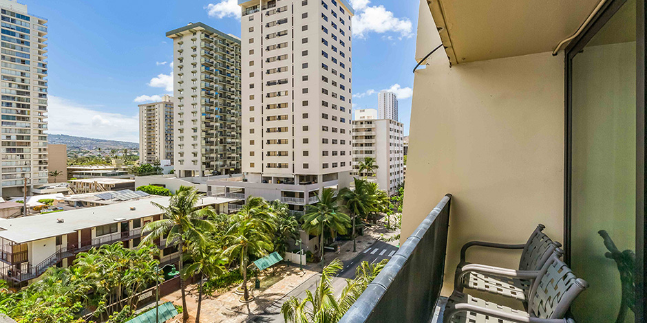 Another lanai view at One Bedroom City Mountain View at Bamboo Waikiki Hotel