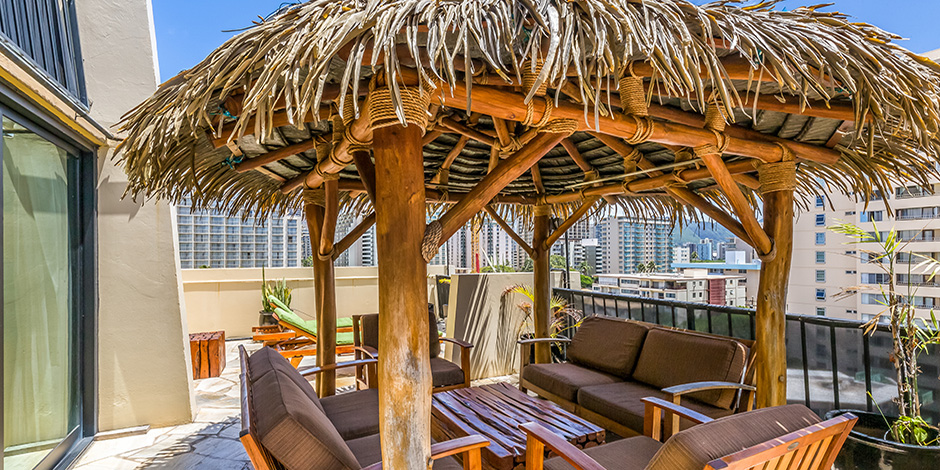 Another lanai view at luxury One Bedroom City Mountain View at Bamboo Waikiki Hotel