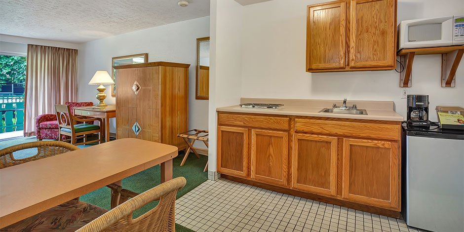 Interior of kitchenette room at Pagoda Hilo Bay Hotel