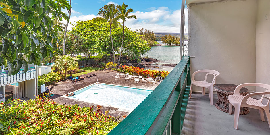 Lanai view at Pagoda Hilo Bay Hotel