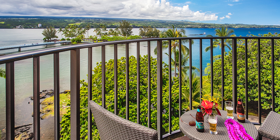 View of Hilo Bay from lanai of Hilo Hawaiian Hotel