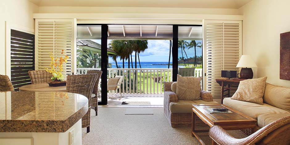 View of ocean from livingroom at Kiahuna Plantation