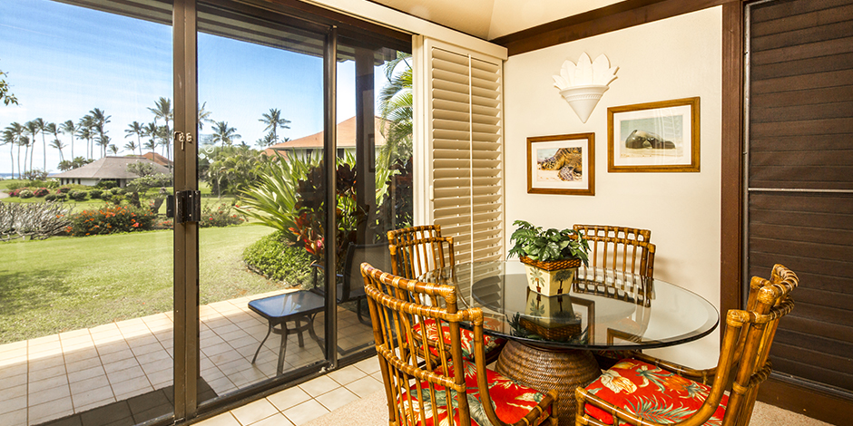 View out lanai from kitchen at Kiahuna Plantation