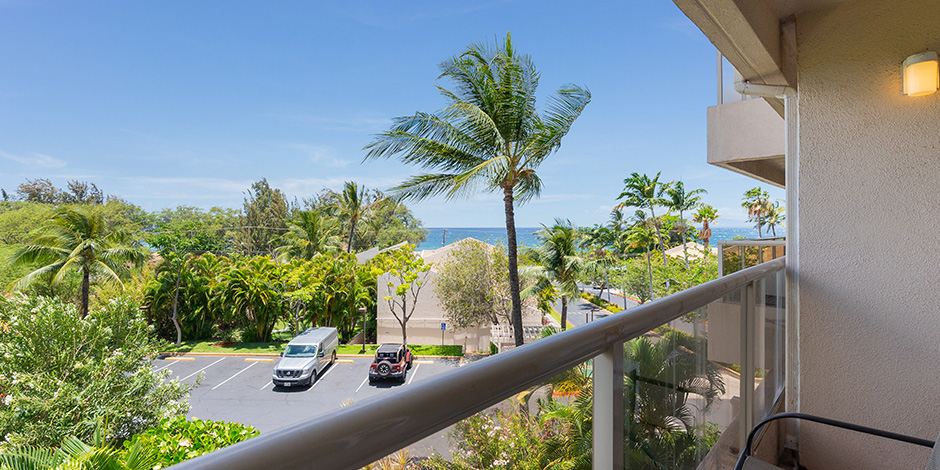 View from a Lanai at partial ocean view at Maui Banyan