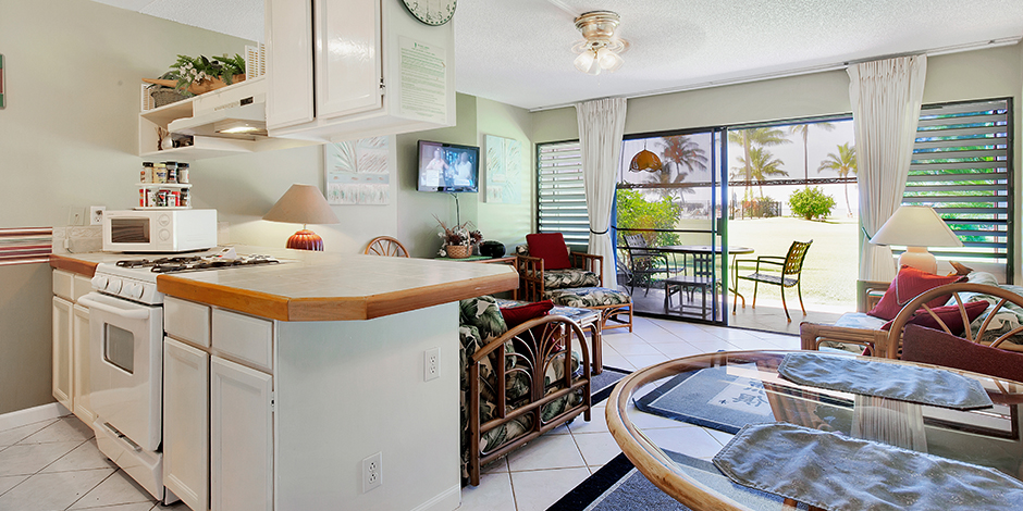 Living room and kitchen 1-Bedroom Ocean View at Molokai Shores