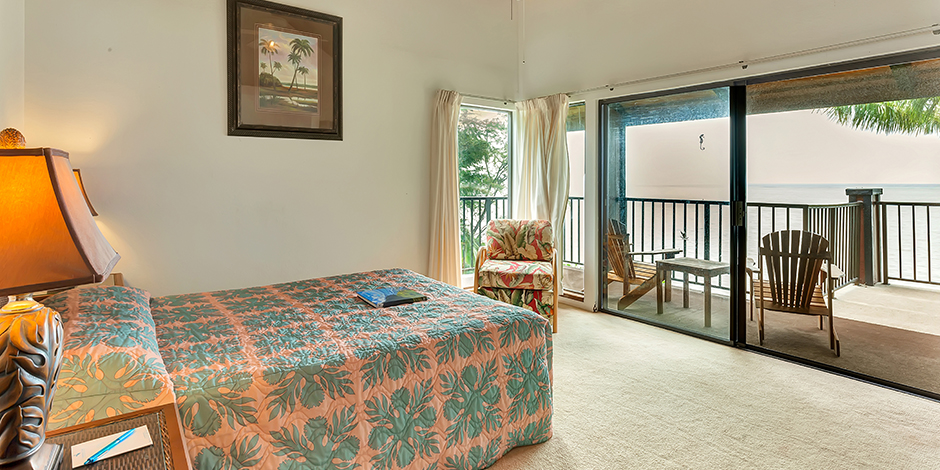 One of the bedrooms in a 2-Bedroom Ocean View at Molokai Shores