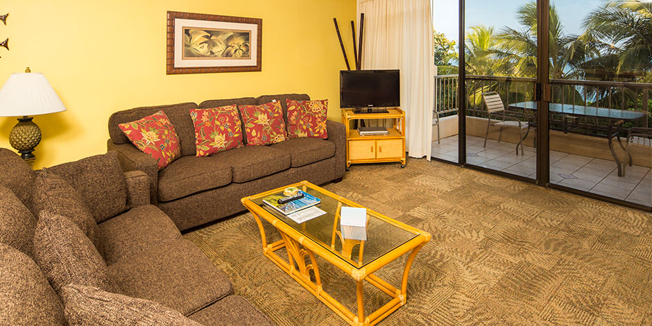 2 Bedroom Partial Ocean View living room at Paki Maui