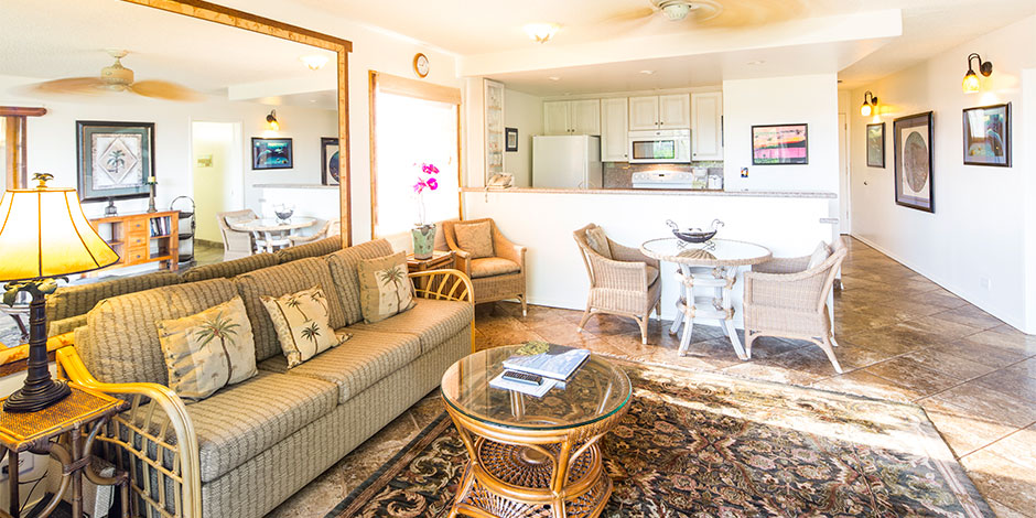 2 Bedroom Partial Ocean View livingroom at Paki Maui