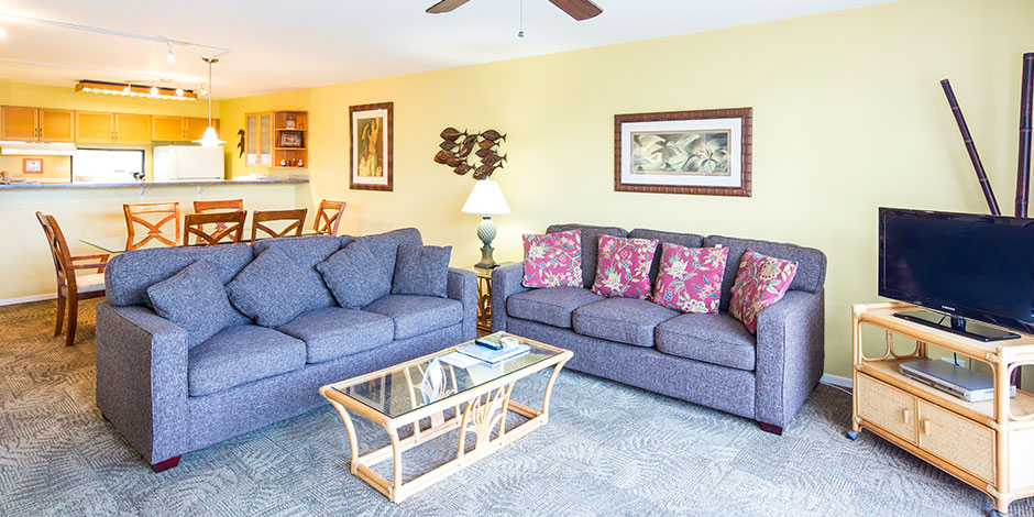2 Bedroom Partial Ocean View living area at Paki Maui