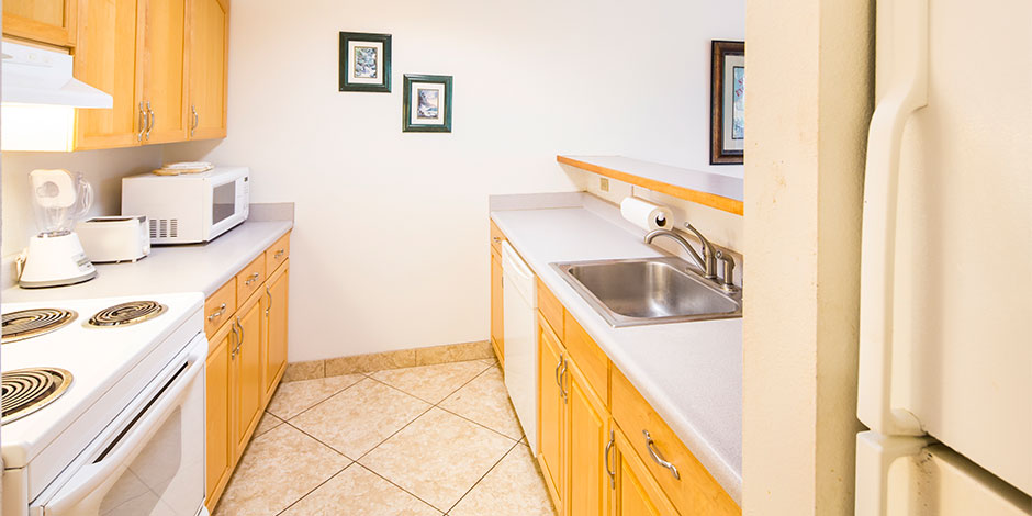 2 Bedroom Partial Ocean View kitchen at Paki Maui
