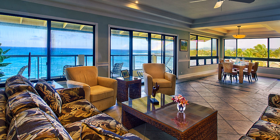 Interior penthouse view at Poipu Shores Resort