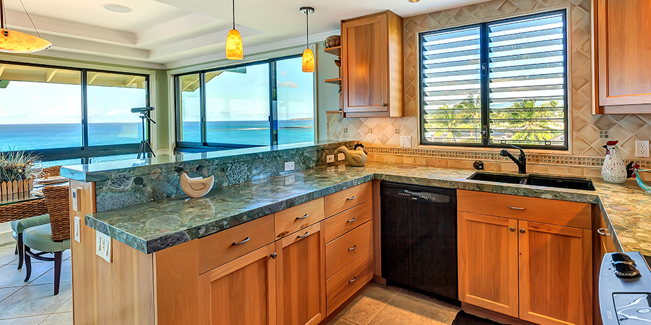 Ocean view from kitchen at Poipu Shores Resort