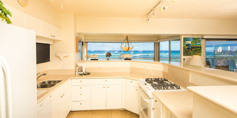 Kitchen at Castle Waikiki Shore