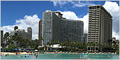 Exterior of the Ilikai Tower, located ocean front in Waikiki