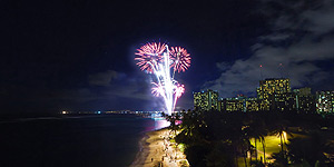 Fireworks outside the Waikiki Shore